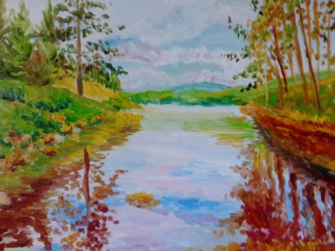 Сосны и река