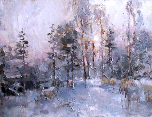 Картина маслом на холсте Зимний вечер