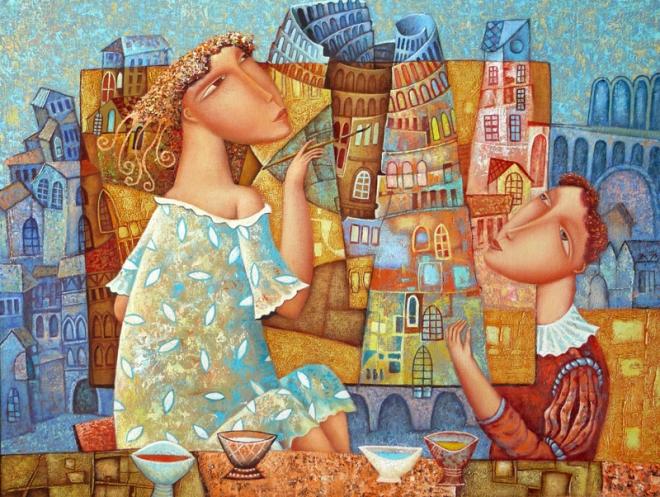 Картина маслом на холсте Нарисованный город