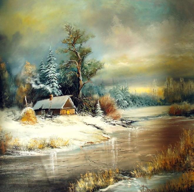 Картина маслом на холсте Скованная льдом река