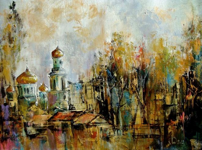 Картина на холсте Казанский собор.Осенний блюз