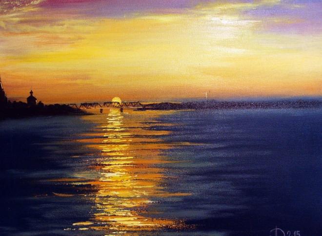 Картина маслом на холсте Утро. Вид на жд мост