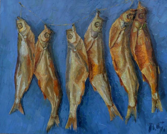 Картина маслом на холсте Золотые рыбки