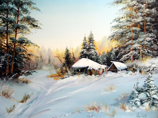Картина маслом на холсте Зимнее утро