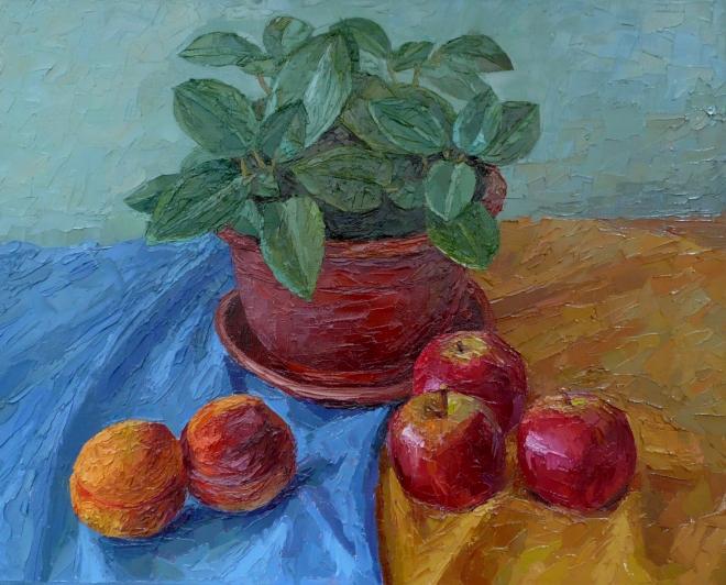 Картина маслом на холсте Цветок и фрукты