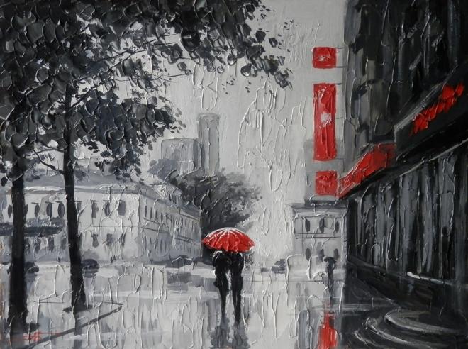 Красный зонт на Первомайской