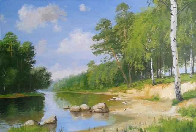 Картина Лес у реки