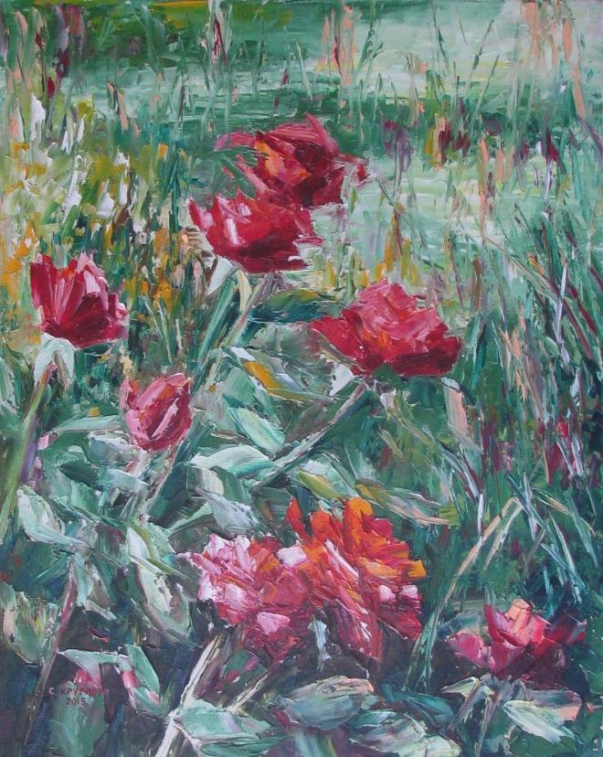 Картина маслом Розы. Как я провёл лето