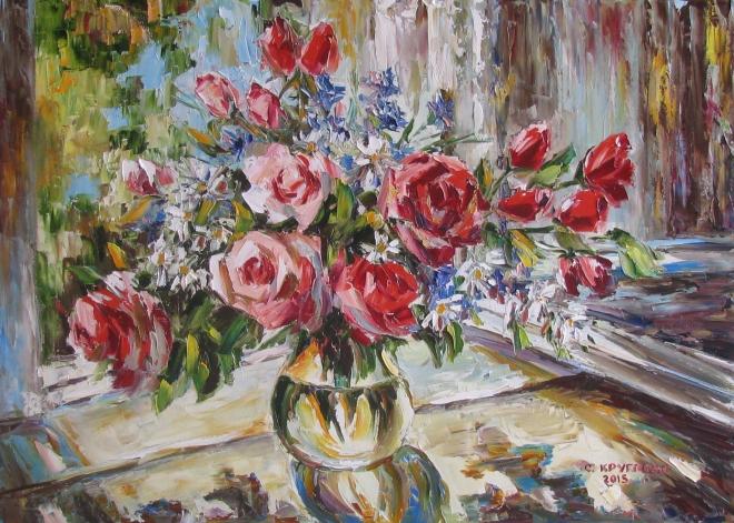 Картина маслом Розы и ромашки на окне