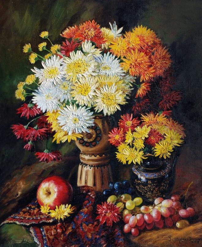 Натюрморт с дубками и фруктами