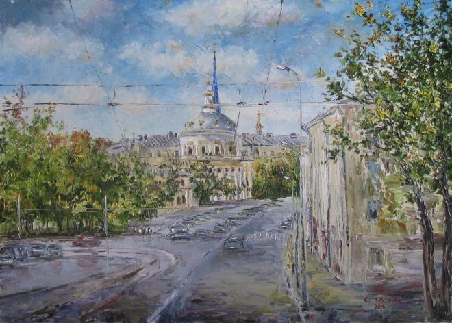 Картина маслом Вниз от Бауманской по Радио. Храм Вознесения на Гороховом поле
