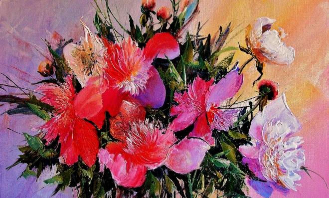 Картина на холсте Пионы на розовом
