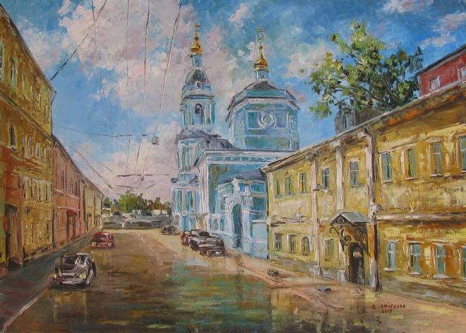 Картина маслом Храм Троицы Живоначальной в Серебряниках