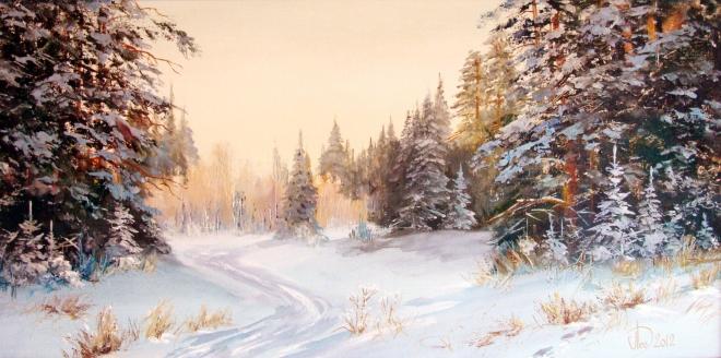 Картина маслом на холсте Дорога зимним лесом
