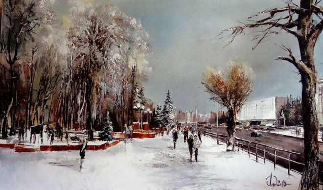 Картина маслом на холсте Вид на Кузнецкий парк. Зима
