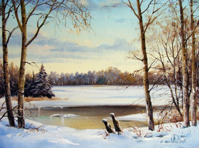 Картина маслом на холсте Замёрзшая река