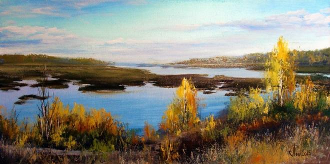 Картина маслом на холсте Пруд ГЭС