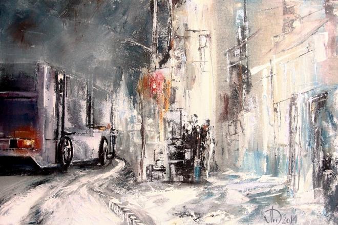 Картина на холсте Зима в городе