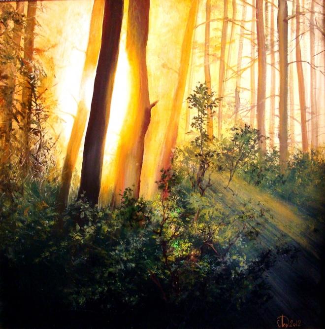 Картина маслом на холсте Пробуждающийся лес