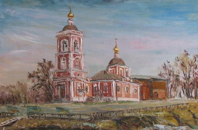 Картина маслом Храм Покрова Пресвятой Богородицы в Покровском на Городне