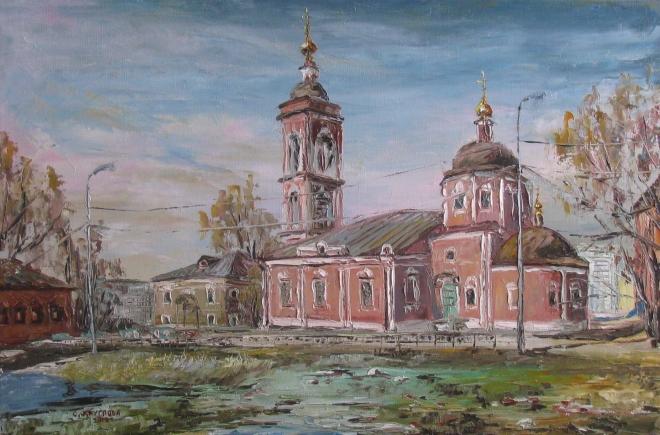 Картина маслом Тёплая весна. Покровский храм на Городне