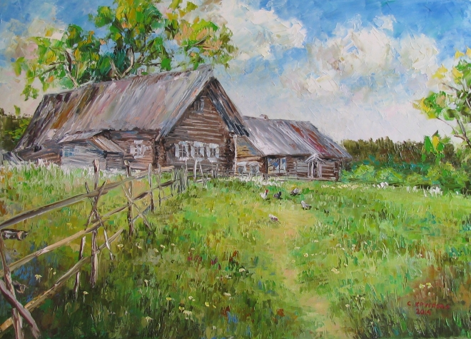 Картина маслом В деревне у бабушки