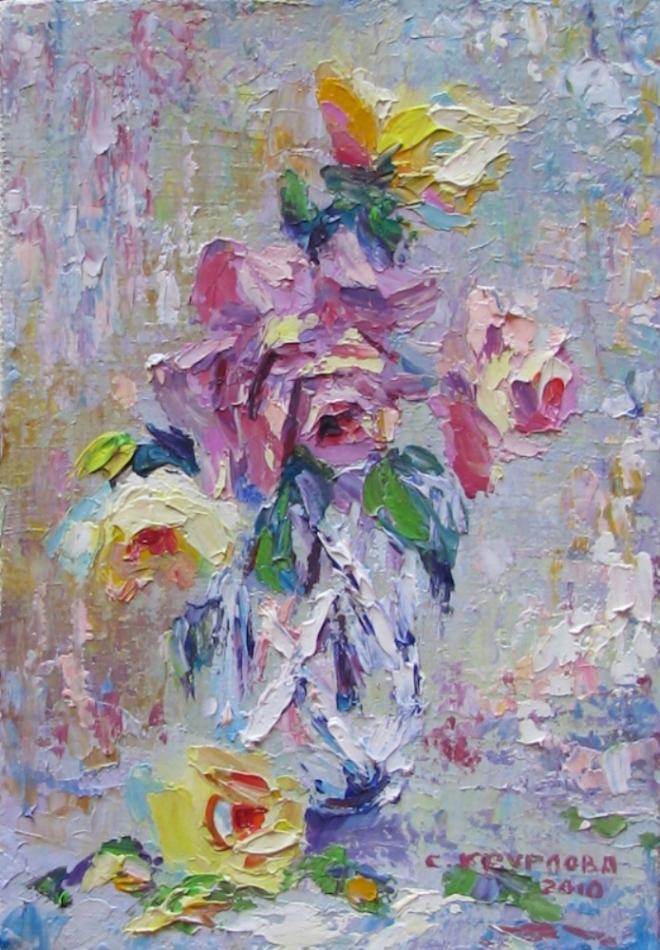 Картина маслом Розы в хрустале