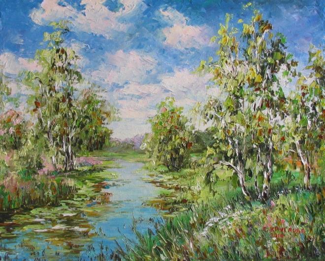 Картина маслом Летний лес