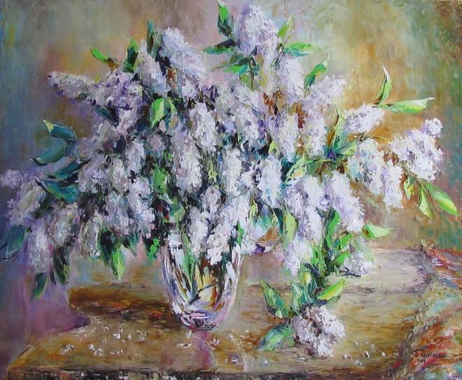 Картина маслом Аромат черемухи