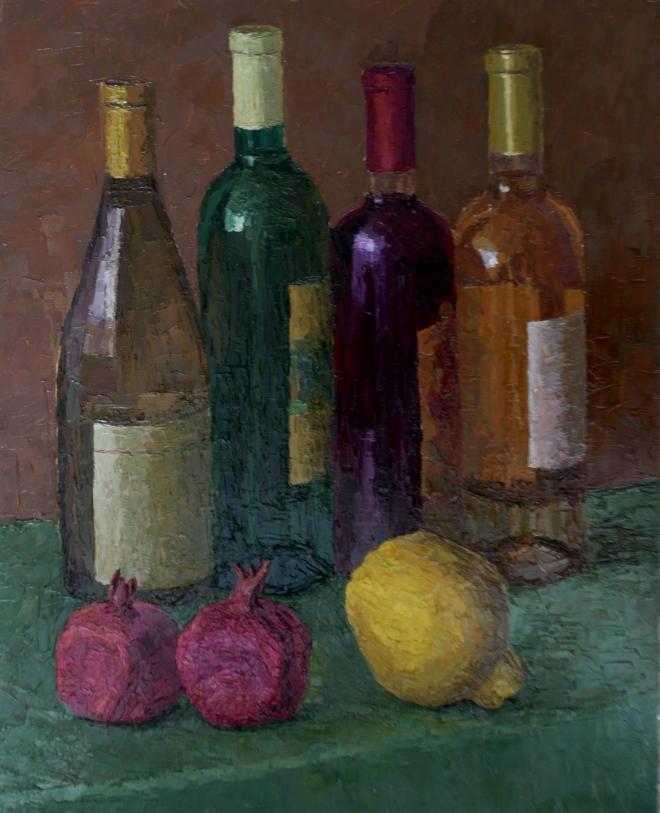 Картина маслом на холсте Вино и фрукты