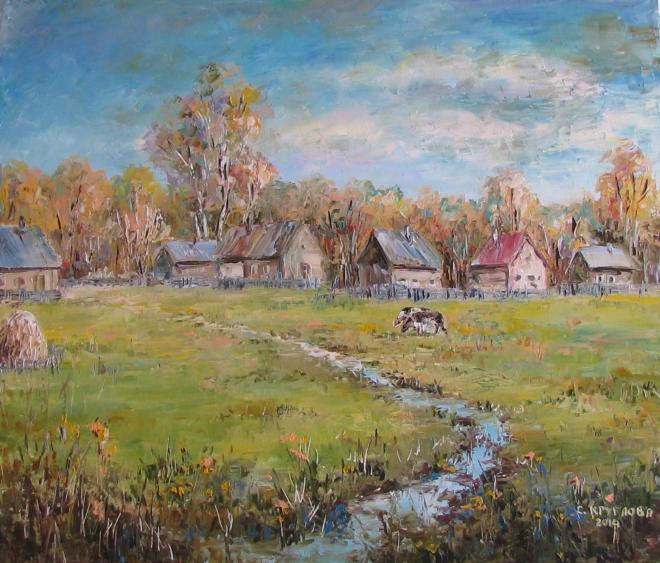 Картина маслом Осень в деревне