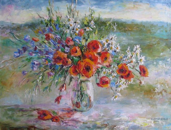 Картина маслом Цветы и травы полевые