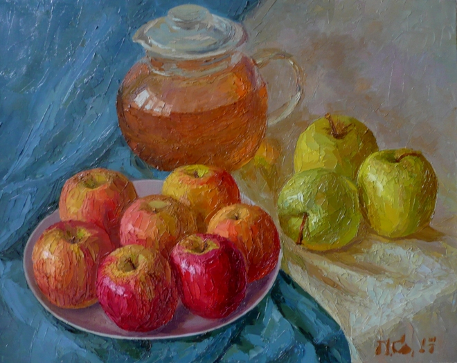 Картина маслом на холсте Яблочный спас