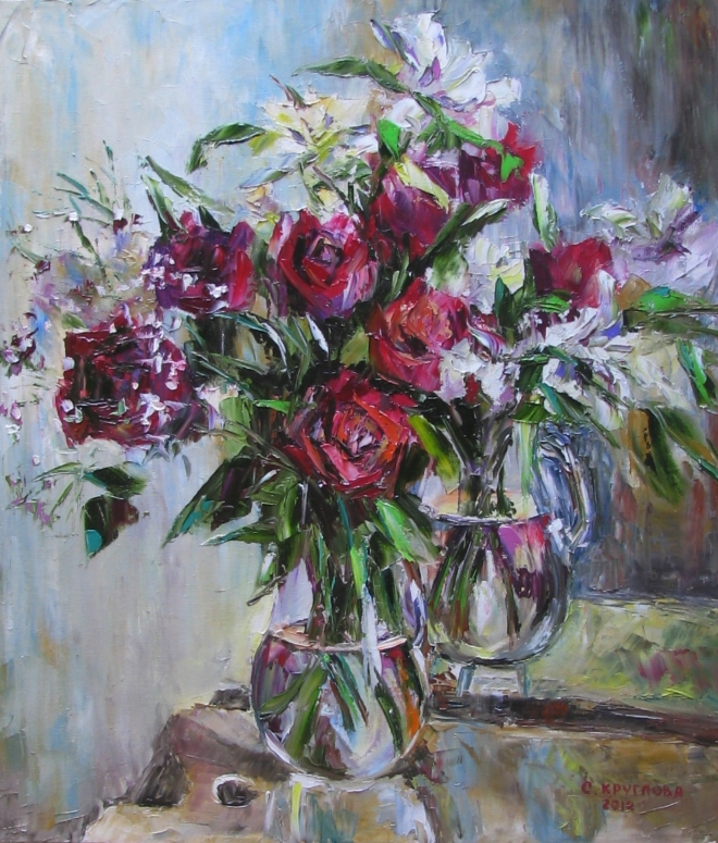 Картина маслом Розы и альстромерии