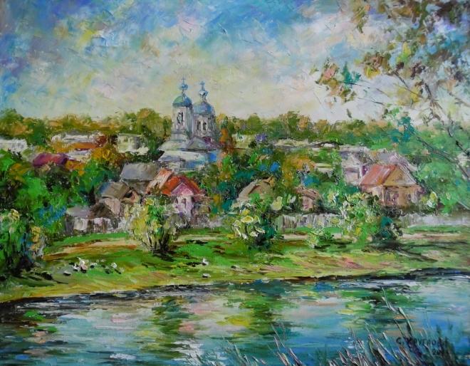 Картина маслом Никольская церковь. Торжок