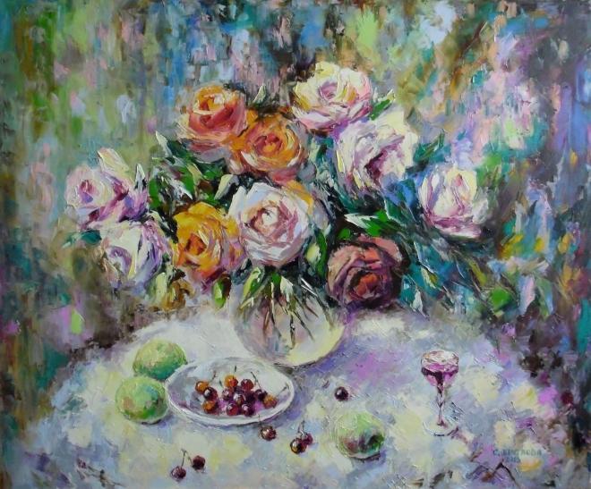 Картина маслом Спелые вишни