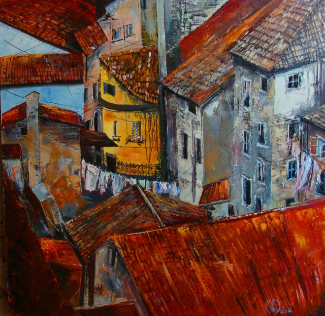 Картина маслом на холсте Итальянские крыши