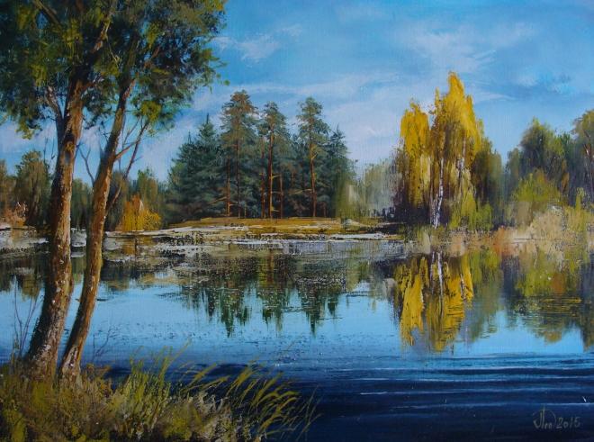 Картина маслом на холсте Лесное озеро