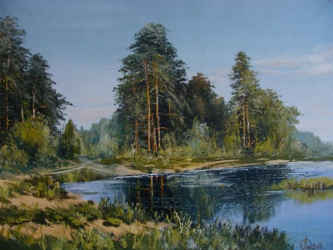 Картина маслом на холсте Лесной пруд