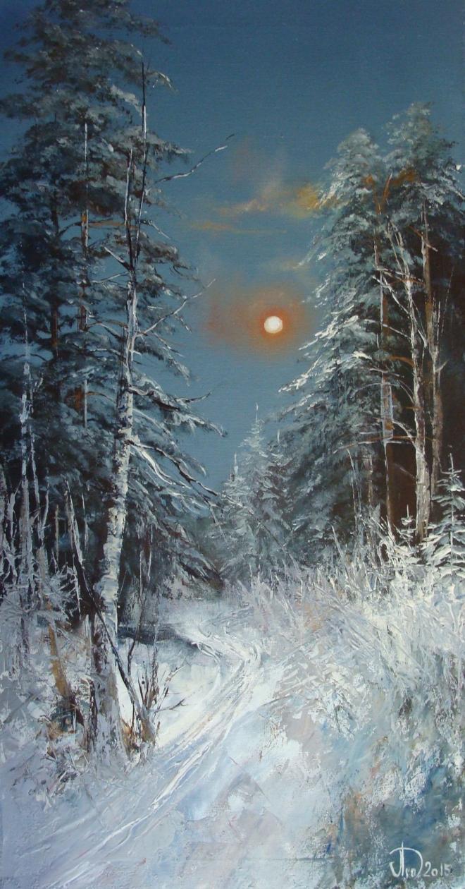 Картина маслом на холсте Ночной лес