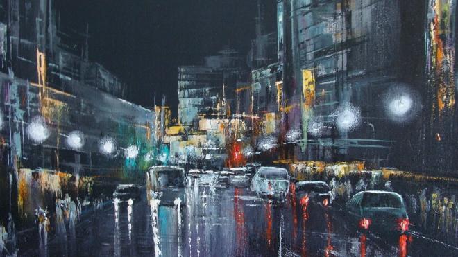 Картина маслом на холсте Ночной мегаполис