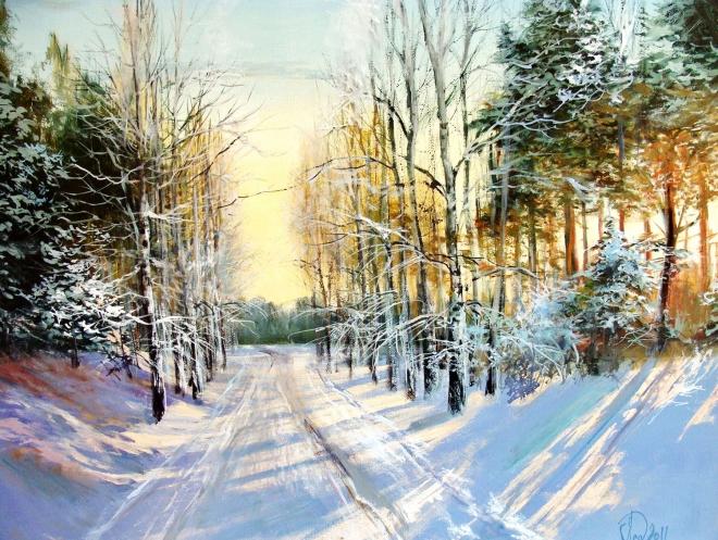 Картина маслом на холсте Зимнее солнце