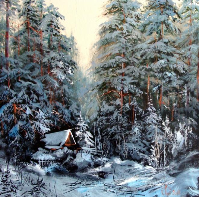Картина маслом на холсте Зимний этюд