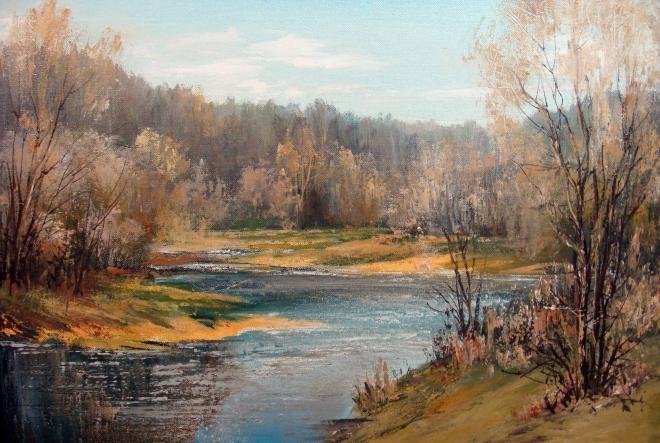 Картина маслом на холсте Весенний пейзаж
