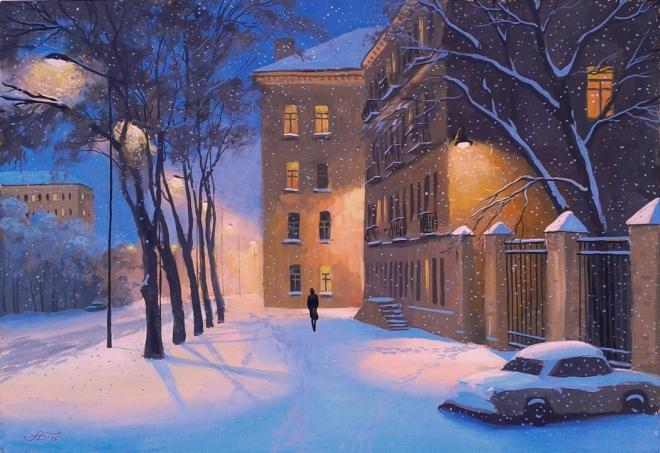Картина Зимний вечер в городе Ч