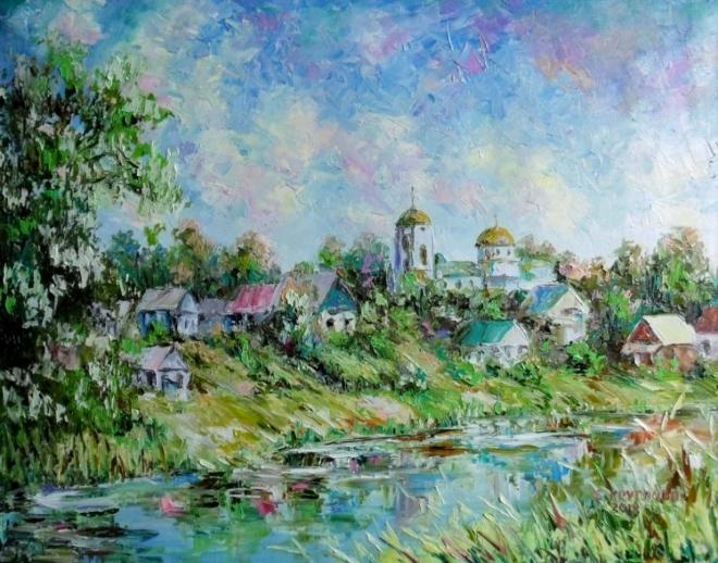 Картина маслом Город мастеров