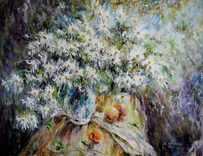 Картина маслом Ромашки и персики