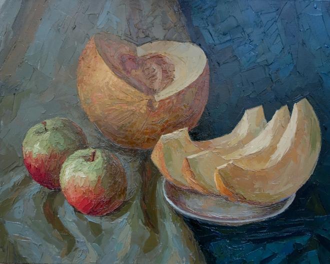 Картина маслом на холсте Август.Дыня.