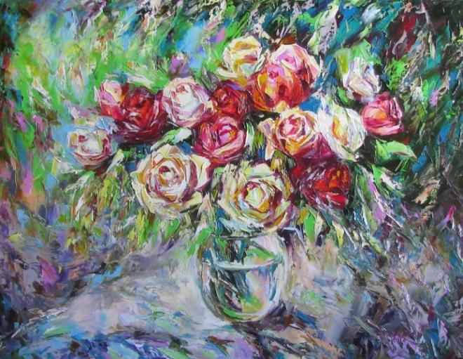 Картина маслом Розы карамель