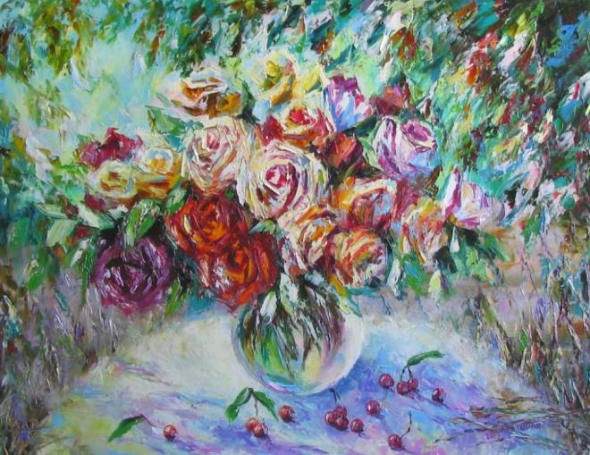 Картина маслом Летний сад